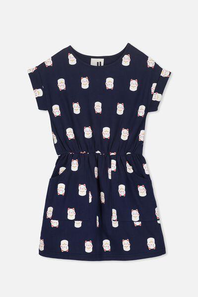 Sibella Short Sleeve Dress, PEACOAT/LUCKY CATS