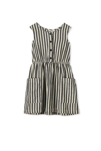 Celeste Dress, BLACK/NATURAL STRIPE