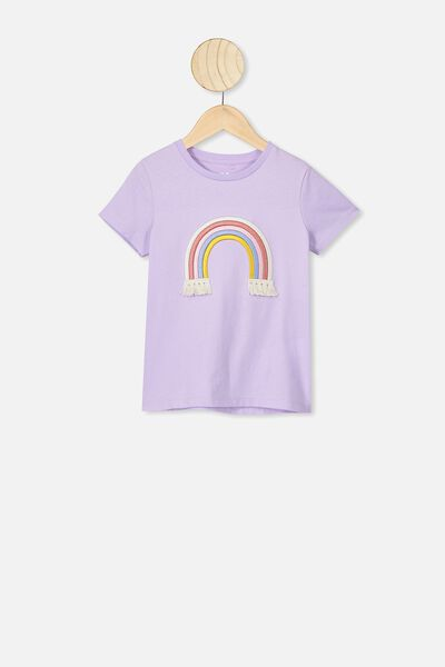 Stevie Ss Embellished Tee, VINTAGE LILAC/EMBROIDERED RAINBOW