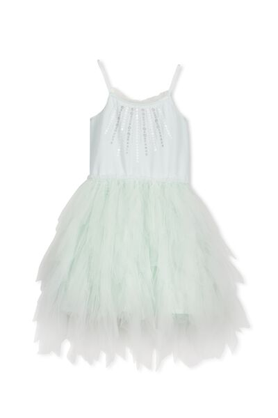 Isabella Tulle Dress, ICED MINT/RUFFLES