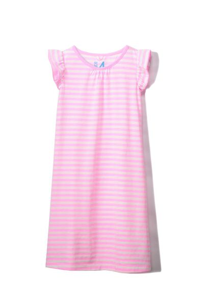 Suzie Flutter Sleeve Nightie, PINK STRIPE
