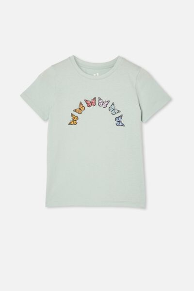 Penelope Short Sleeve Tee, DUCK EGG/RAINBOW BUTTERFLY