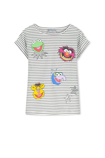Lux Short Sleeve Retro Tee, FLOATING MUPPETS/VANILLA PHANTOM STRIPE