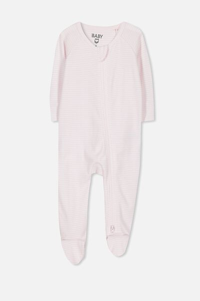 Newborn Long Sleeve Zip Through Romper, BABY PINK STRIPE
