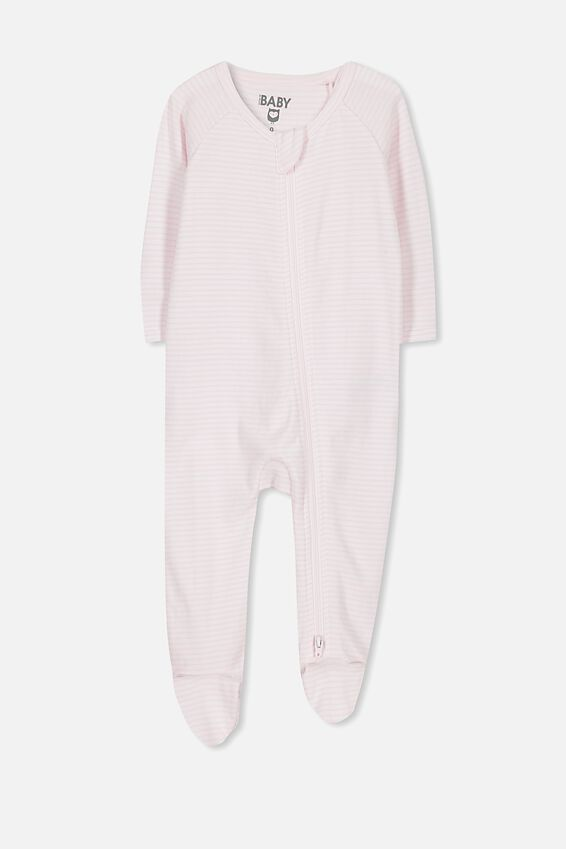 Newborn Long Sleeve Zip Through Romper, BABY PINK STRIPE