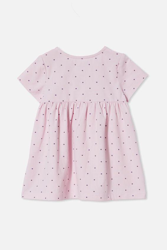 Milly Short Sleeve Dress, LAVENDER FOG/DUSK PURPLE BETTY SPOT