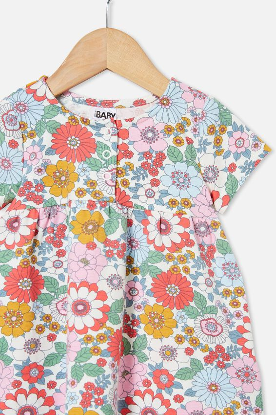 Milly Short Sleeve Dress, VANILLA/CALI PINK RETRO FLORAL