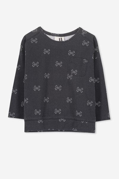 Luca Long Sleeve Top, VINTAGE BLACK/CROSS BONES