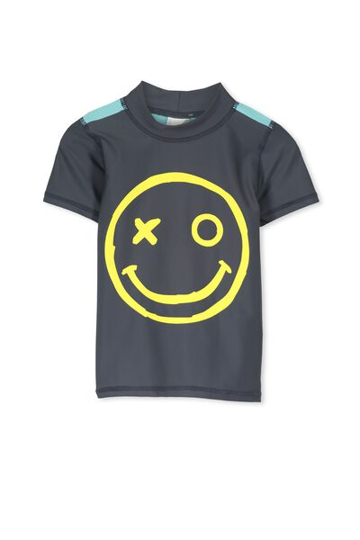 Finley Ss Rash Vest, GRAPHITE/SMILEY FACE