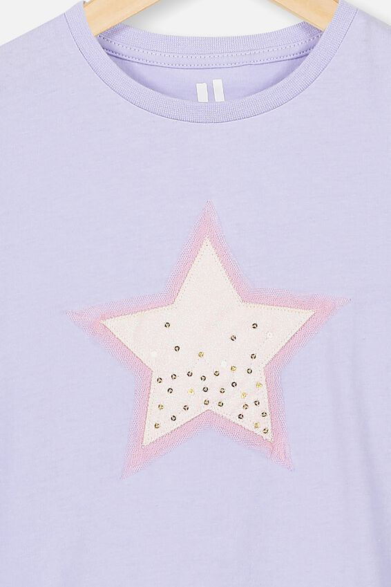 Stevie Ss Embellished Tee, SMOKEY LILAC STAR DUST