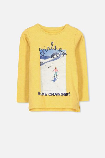 Penelope Long Sleeve Tee, MINERAL YELLOW MARLE/GAME CHANGER/SET IN
