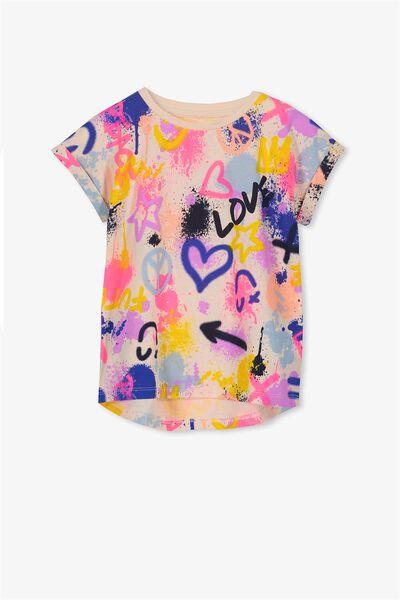 Penelope Short Sleeve Tee, LIGHT PINK GRAFFITI/DROP SHOULDER