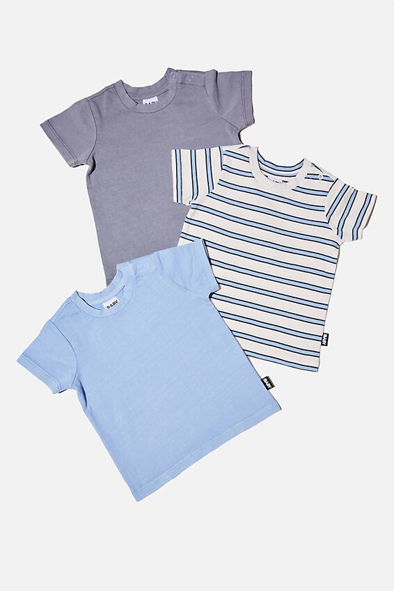 3 Pack Jamie Short Sleeve Tee, DUSK BLUE STRIPE/DUSK BLUE/STEEL