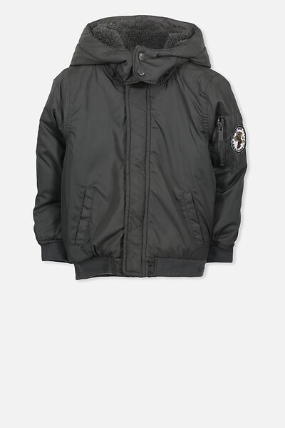 Flynn Puffer Jacket, PHANTOM/EAGLE BADGE