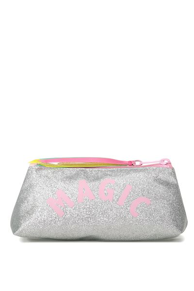 Harper Pencil Case, SILVERY GLITTER