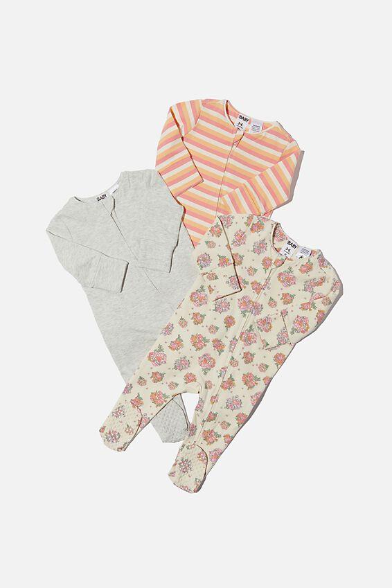 3 Pack Long Sleeve Zip Romper, PETUNIA FLORAL/CLOUD MARLE/KEANAN STRIPE