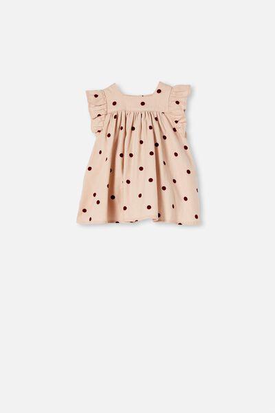 Betty Flannel Dress, PEACH WHIP/NOIR GRAPE/OLLIE SPOT