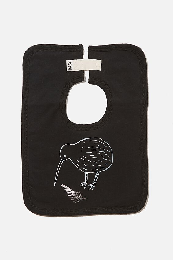 The Darcey Square Bib, BLACK KIWI FERN