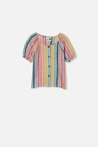 Frankie Short Sleeve Top, RAINBOW STRIPE