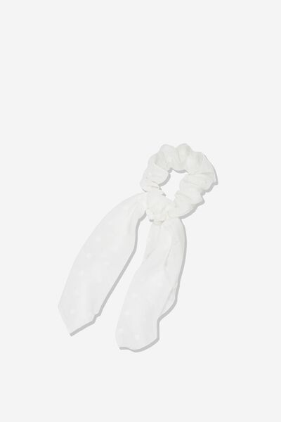 Scarf Scrunchie, WHITE DOBBY