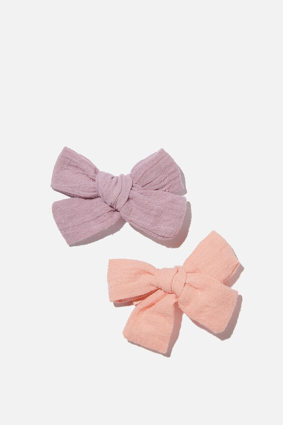 Big Bow Clips - Cheesecloth, PINK / VINTAGE LILAC