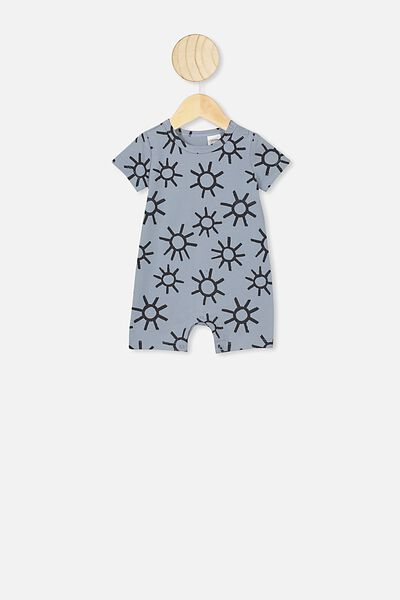 The Short Sleeve Romper, RAIN CLOUD/SUNS