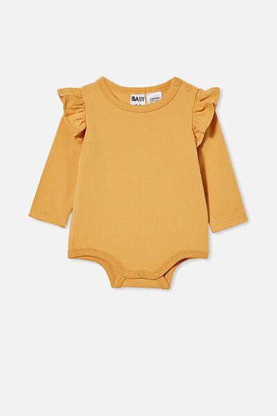 The Long Sleeve Ruffle Bubbysuit, VINTAGE HONEY