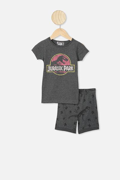 Ted Short Sleeve Pajama Set, LCN UNI CHARCOAL MARLE/JURASSIC PARK LOGO