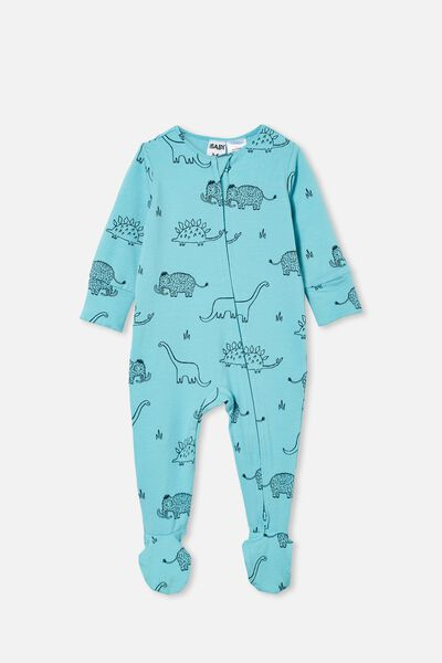 The Long Sleeve Zip Romper, BLUE ICE/DINO MAMMOTH