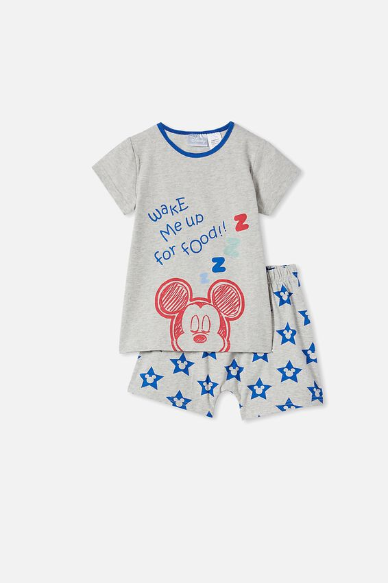 Hudson Short Sleeve Pyjama Set Licensed, LCN DIS MICKEY FOOD / SUMMER GREY MARLE