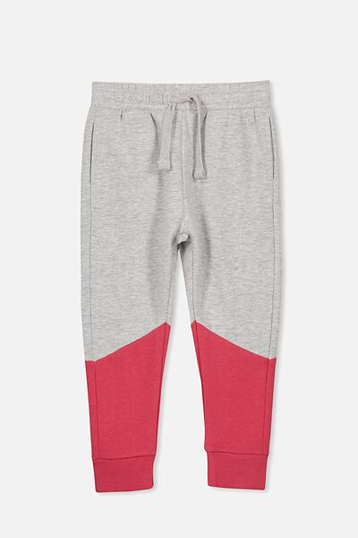 Lewis Trackpant, LT GREY MARLE/RIVER RED SPLICE