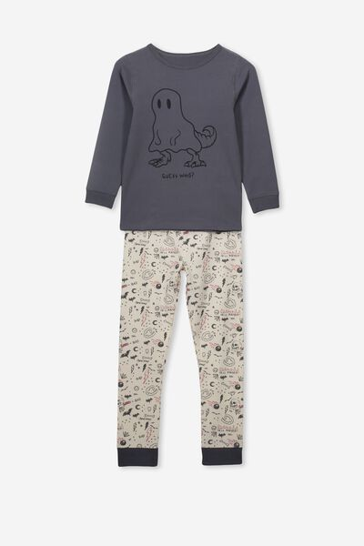 Harrison Long Sleeve Boys Pyjamas, GUESS WHO!/BLACK