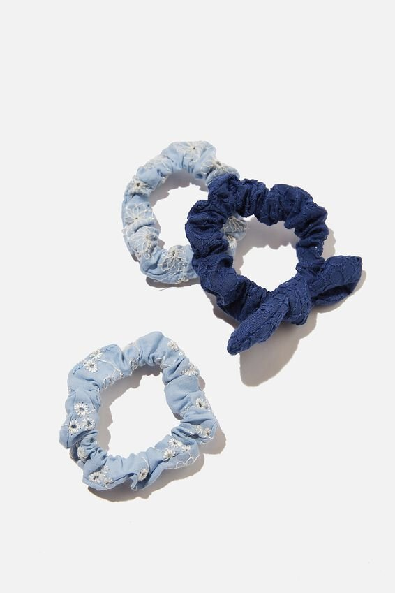 Mini Scrunchies - Broderie, DUSK BLUE FLORAL BRODERIE