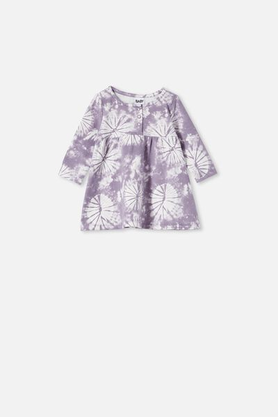 Molly Long Sleeve Dress, DUSK PURPLE TIE DYE