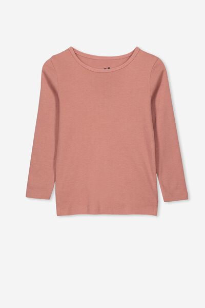 Jessie Crew Long Sleeve Tee, RUSTY BLUSH MARLE