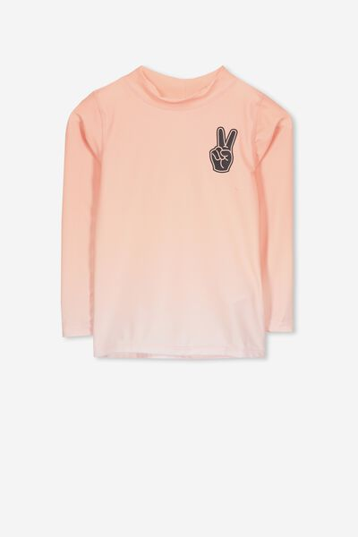 Fraser Long Sleeve Rash Vest, GRADIENT BRUSHED PEACH/PEACE