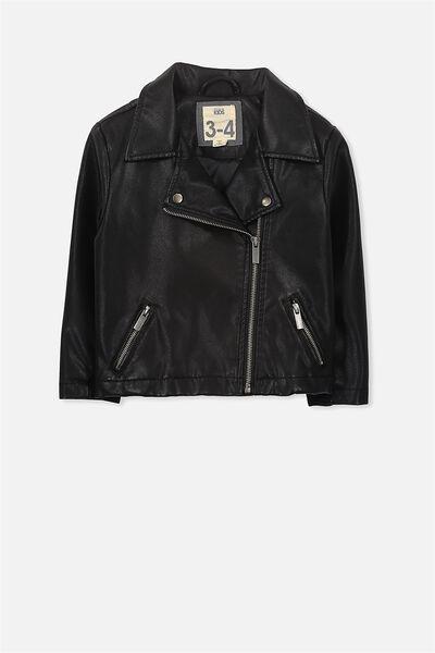 Beau Biker Jacket, BLACK