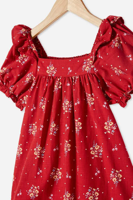 Aimee Short Sleeve Dress, LUCKY RED POSEY SPOT