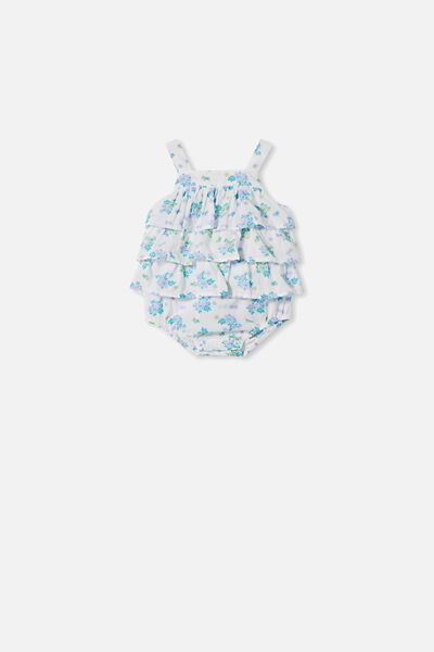 Tilly Ruffle Bubbysuit, FROSTY BLUE/MINI RETRO