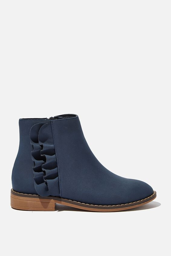 Ruffle Ankle Boot, NAVY