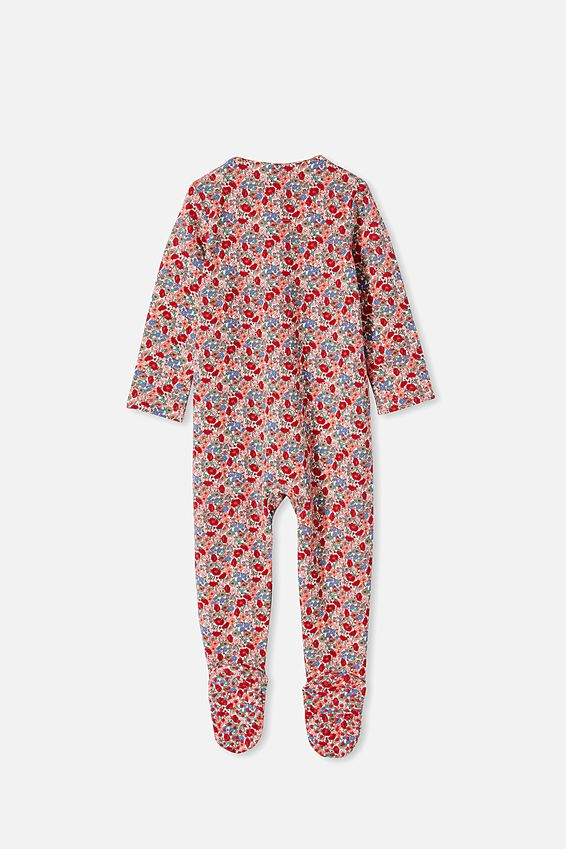 The Long Sleeve Zip Romper, VANILLA/LUCKY RED JOLLY FLORAL