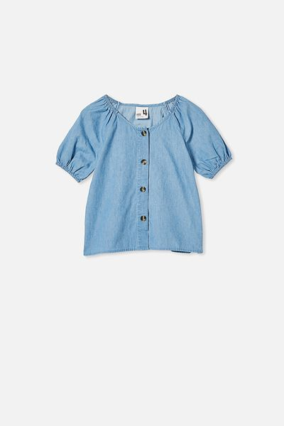 Frankie Short Sleeve Top, MID BLUE WASH
