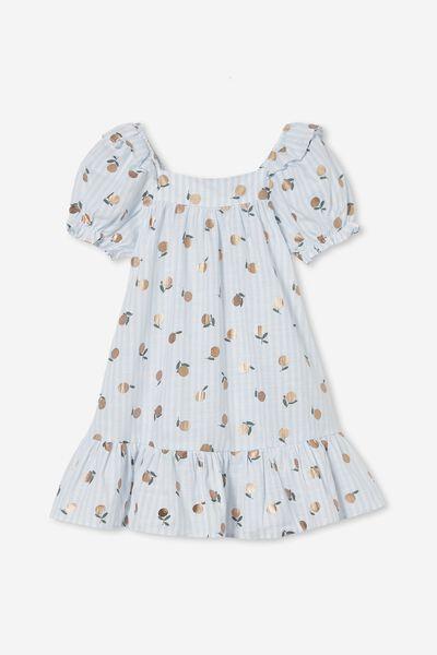 Aimee Short Sleeve Dress, FROSTY BLUE STRIPE/MANDARINS