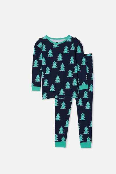 Avery Kids Unisex Long Sleeve Pyjama Set, CHRISTMAS TREE NAVY BLAZER