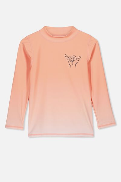 Flynn Long Sleeve Rash Vest, GRADIENT BRUSHED PEACH SHARK