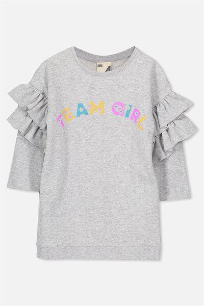 Andrea Frill Sleeve Dress, LIGHT GREY MARLE/TEAM GIRL