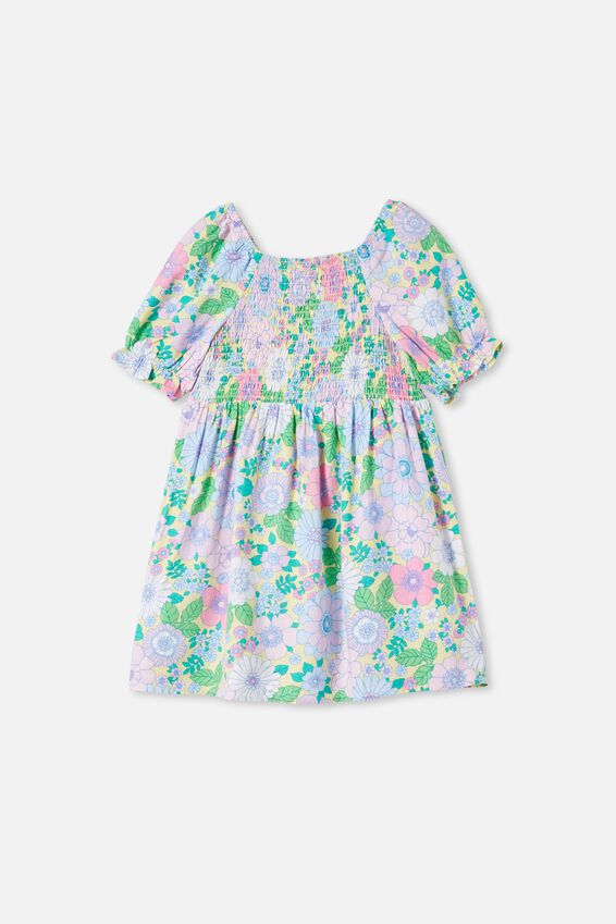 Lillie Short Sleeve Dress, LEMON DROP/RETRO FLORAL