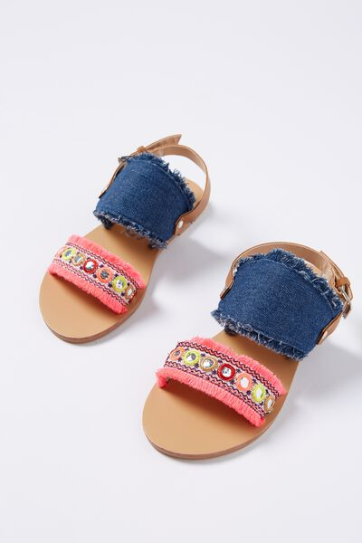 Georgia Sandal, DENIM/PINK