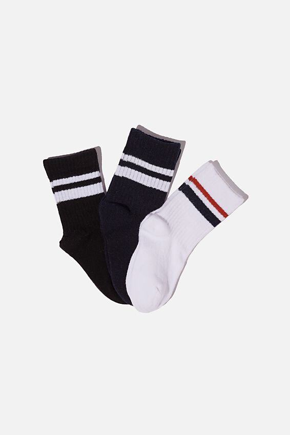 Kids 3Pk Crew Sock, WHITE NAVY BLACK