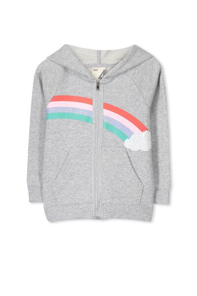 Selina Hooded Fleece, LIGHT GREY MARLE/RAINBOW